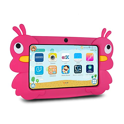 Xgody Kids Tablet 7 Zoll, 2GB + 16GB Android 9.0 GMS Tablet 7 inch, Quad Core, WiFi Bluetooth Dual Camera, Kidoz & Google Play Pre-Installed with Pink Case