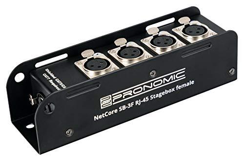 Pronomic NetCore SB-3F Multicore-Stagebox male - Stagebox mit 4 XLR-Buchsen (female) auf RJ45 Buchse - zur Übertragung analoger oder digitaler Signale über Netzwerkkabel