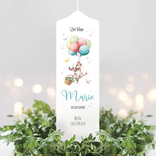 Wandtattoo Loft Taufkerze Junge oder Mädchen Maus mit Luftballons weiße Kerze zur Taufe, Geburt Kommunion weiß 25 x 7 cm mit Name, Datum, ggf. Taufspruch / / Taufkerze 25 x 7 cm (eigener Taufspruch)