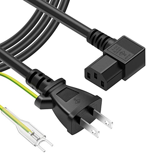 powseed 電源コード延長 AC電源ケーブル 3ピンL型ソッケト(メス)⇔2ピンプラグ(オス) アース線付き パワーコード 電源変換ケーブル 電源延長コード 延長ケーブルトラッキング対策 定格7.5A-125V 2m