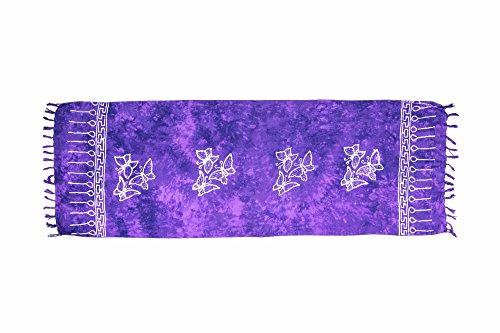 MANUMAR sarong donna non trasparente come mini-gonna (155x55cm)   pareo bambini telo da mare   gonna a portafoglio   foulard leggero lilla chiaro sfrangiato con motivo farfalla   spiaggia  