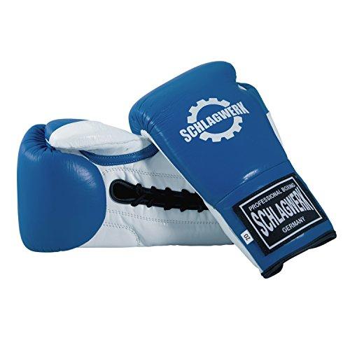 SCHLAGWERK Premium Boxhandschuhe Pro Sparring und Training L3 Echtleder 16 oz für Männer/Frauen/Jugend geschnürt (Blau/Weiß/Rot)