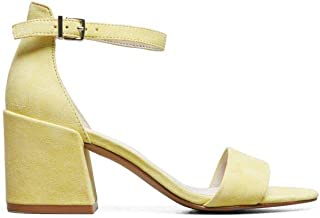 Kenneth Cole New York Women's Hannon Block Heeled Sandal with Ankle Strap, Lemon, 7 M US
