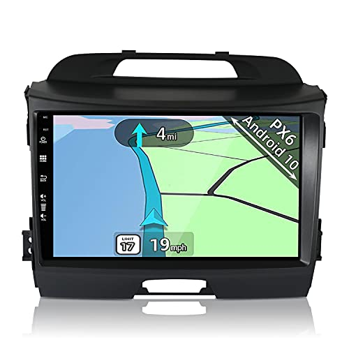 YUNTX PX6 Android 10 Autoradio para Kia Sportage (2010-2015) - 4G+64G - GPS 2 DIN - Gratis Cámara - Soporte Dab / Control del Volante / USB / 4K / AHD / WiFi / BT 5.0 / MirrorLink / CarPlay