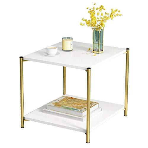 FCXBQ Home D & Eacute; COR Furniture Weißer MDF-Beistelltisch Beistelltisch mit Ablagegestell und Metallrahmen, 2-stufiger Sofatisch für Wohnzimmer, stabiles und Robustes (rundes/quadratisches)