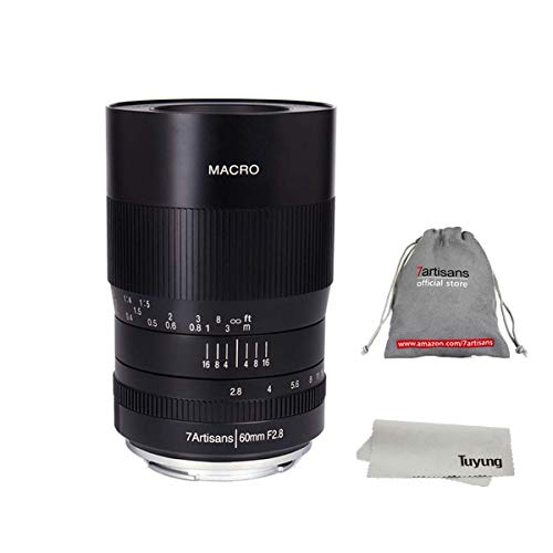 7artisans - Objetivo Macro para Fujifilm FX Mount X-A2 X-A3 X-M2 X-T2 X-T10 X-T20 X-Pro1 X-Pro2 X-E2 X-E3 (Enfoque Manual, 60 mm)