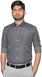 BELA VESTOJ Men's Printed Black Color Regular fit Cotton Formal Shirt