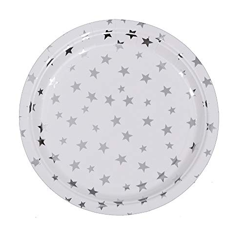 Ottin White and Silver Stars Paper Plates 9'' 48 Counts Disposable Party Plates for Party Sets Wedding Birthday Bridal Shower Engagement Weekend Party Graduation Mother Day
