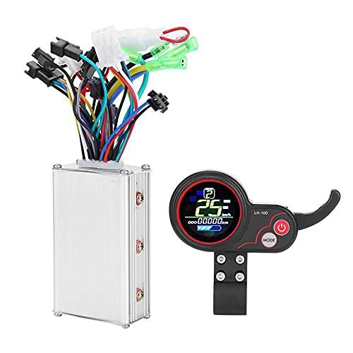 WHCL Controlador sin escobillas del Motor, Controlador de Velocidad con Panel de Control de Pantalla LCD a Prueba de Agua y Interruptor de Cambio para Bicicleta de Scooter eléctrico,24v