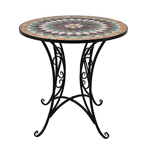 Wohaga® Mosaik Gartentisch rund Ø60cm Mosaiktisch Beistelltisch Bistrotisch Balkontisch