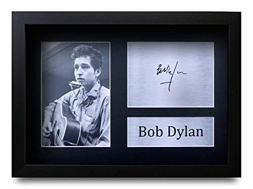 HWC Trading Bob Dylan A4 Gerahmte Signiert Gedruckt Autogramme Bild Druck-Fotoanzeige Geschenk Für Musik-Fans