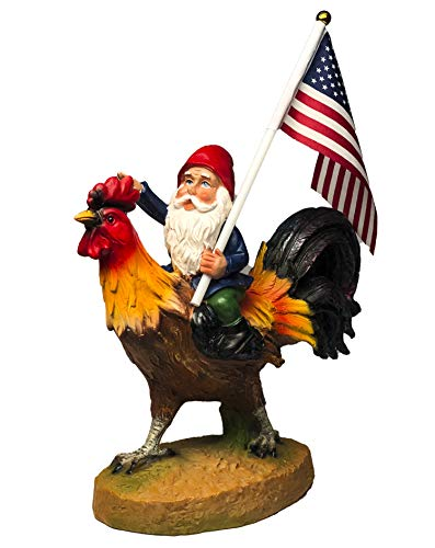 Funny Guy Mugs Gnome Riding A Rooster Garden Gnome Statue- Indoor/Outdoor Garden...