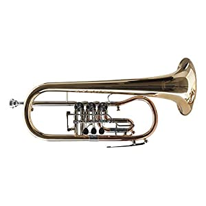 Classic Cantabile FL-43G Bb-Flügelhorn (Drehventile, Korpus und Schallstück aus Goldmessing, Trigger am 3. Ventil, klarlackiert, inklusive Rucksack-Leichtkoffer und Mundstück)
