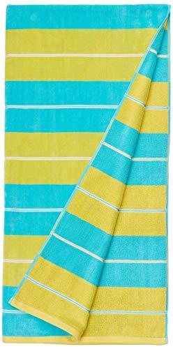 AmazonBasics Oversized Premium Beach Towels - Yellow Horizontal Stripes, 2-Pack