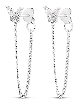 Highstreet .925 Sterling Silver dangling drop chain earrings for women | elegant design | hypoallergenic | light and easy on the ear for all day use  CZ RHODIUM PLATED BUTTERFLY