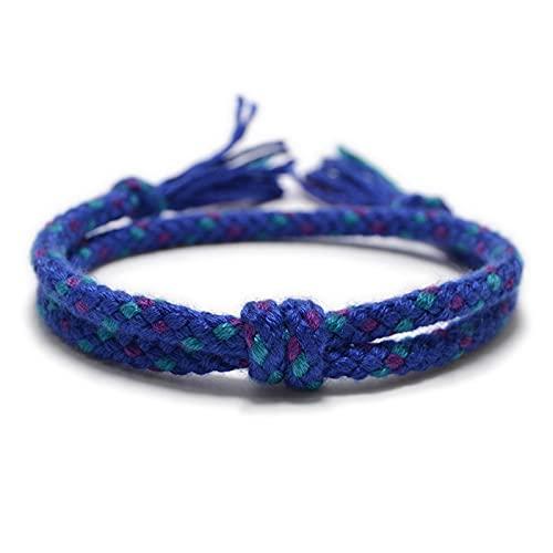 Pulseras de Cuerda tibetana Tejidas Simples y brazaletes para Hombres Mujeres Chic Tassel Knot Charm Pulsera de Amistad Hecha a Mano 8