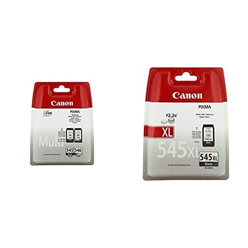 Canon PG-545+CL-546 Cartucho Multipack de tinta original Negro y Tricolor para Impresora de Inyeccion + PG-545XL Cartucho de tinta original Negro XL para Impresora