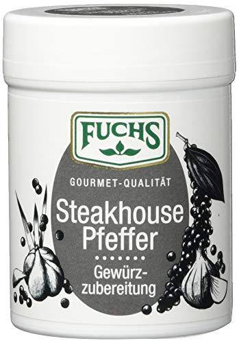 Fuchs Steakhouse Pfeffer Gewürzzubereitung Pfeffergewürz-Mischung geschroteter Steakpfeffer, zum Grillen, ideal für Gewürz Rub und Marinade, 60 g