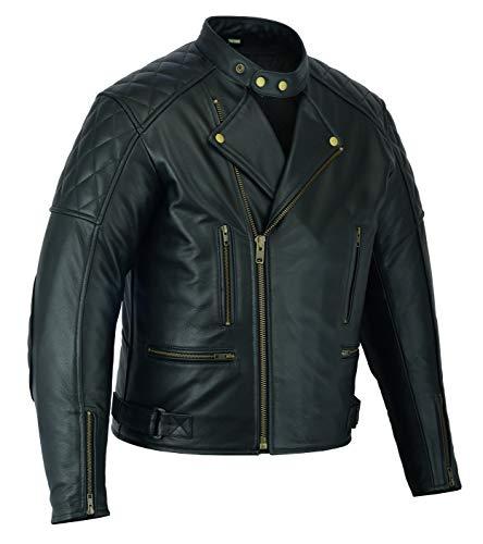 Texpeed - Herren Jacke im Marlon-Brando-Stil - Rautensteppung - aus hochwertigem Spaltleder - Schwarz