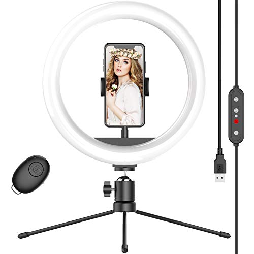 10' Selfie Ring Light with Tripod Stand & Phone Holder, Dimmable Desk LED Makeup Ring Light for Live Streaming/Zoom Meetings/YouTube Video/Volg, Compatible with iPhone Android