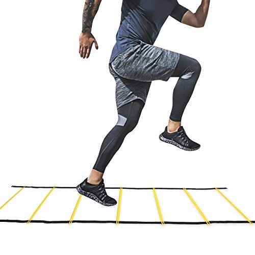 Rehomy Herramienta de Ejercicio de Juego de Pies de Escalera de Agilidad de Entrenamiento de Velocidad para Deporte de Fútbol Soccer (7 Peldaños)
