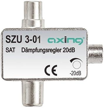 Axing SZU 3-01 - Atenuador de satélite para enchufe coaxial (0,5-20 dB)