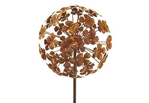 Kobolo Gartenstecker Dekostecker Blume Flower Ball aus Metall in Rostoptik H 110 cm