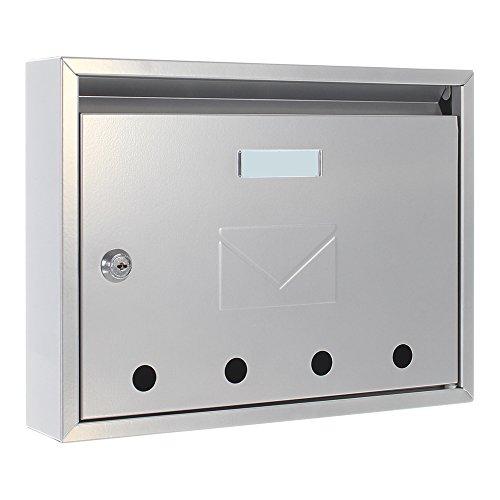 Rottner Briefkasten Imola Silber, Stahl-Briefkasten, kleiner Postkaten, Sichtfenster, Namensschild