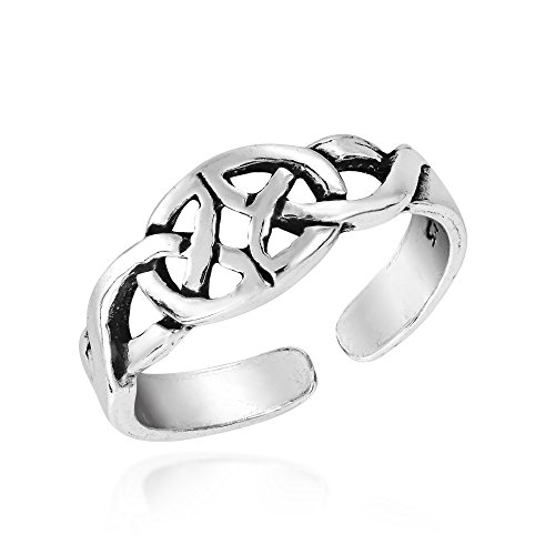 AeraVida Mirrored Celtic Trinity Knot .925 Sterling Silver Toe Ring or Pinky Ring
