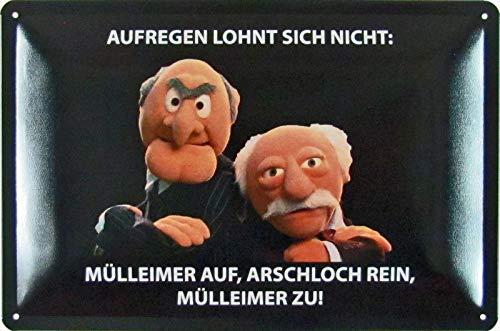 Blechschild 20x30cm gewölbt Waldorf Statler Muppet Aufregen Spruch Deko Geschenk Schild