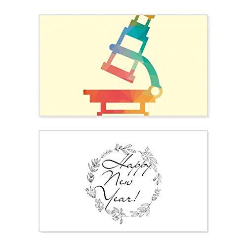 Tarjeta de felicitación conmemorativa de año nuevo con diseño de microscopio de dibujos animados