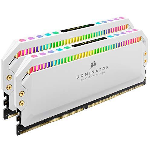 Corsair Mémoire de Bureau Dominator Platinum RGB 32 Go 2x16 Go DDR4 3200 PC4 25600 C16 1,35 V Blanche