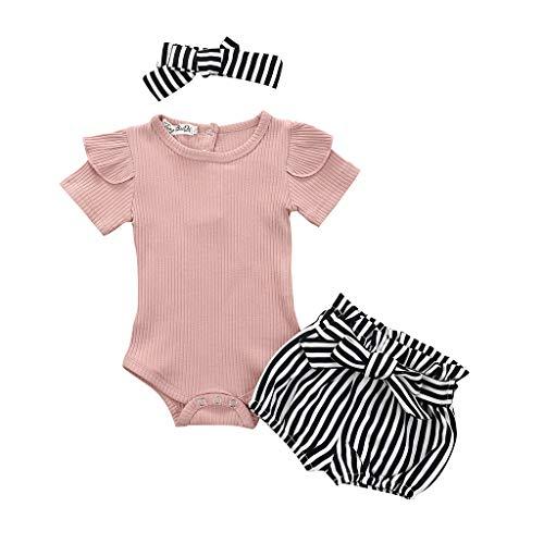 Kobay Mädchen Sommer 3Pcs Baby Girls Säuglingskleidung Set Strampler Jumpsuit Bowknot Stripe Shorts Outfits
