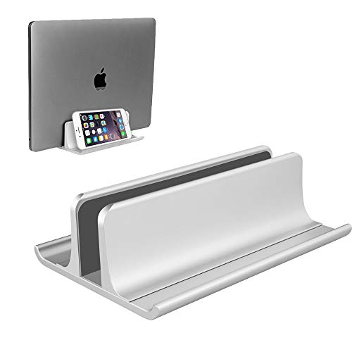 VAYDEER Vertical Laptop Stand Holder Adjustable Desktop Notebook Dock Space-Saving Three-in-one for All MacBook Pro Air, Mac,HP, Dell, Microsoft Surface,Lenovo, up to 17.3 inch Silver