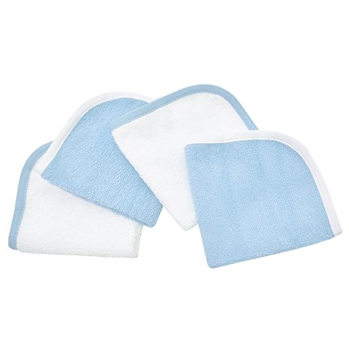 American Baby Company Cotton Terry 4-Piece Washcloth Set, Blue