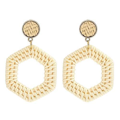 Rattan Earrings for Women Handmade Straw Wicker Braid Drop Dangle Earrings Lightweight Geometric Statement Earrings Hoop Earrings F:Polygon 1