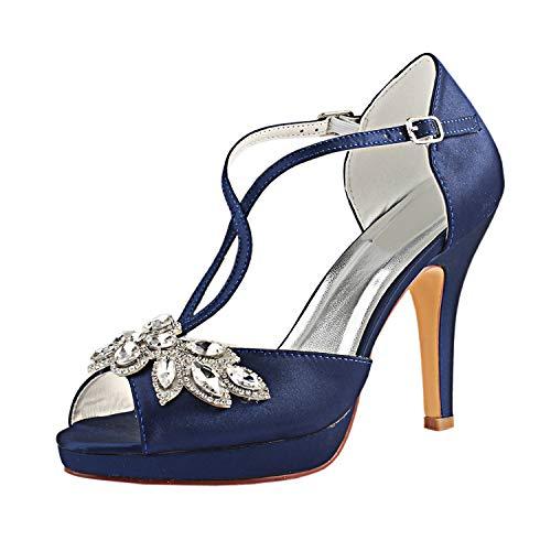 Emily Bridal Zapatos Nupciales Zapatos de Novia de Marfil Peep Toe Rhinestones...