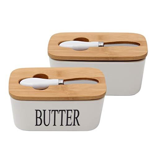 Plato de mantequilla Plato de mantequilla de cerámica con tapa de bambú, mantequilla Guardián Contenedor con cuchillo de mantequilla de almacenamiento de alimentos la caja del caramelo, negro plato de
