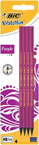 BIC Bleistift Evolution Purple, HB, Blister à 4 Stück, pink