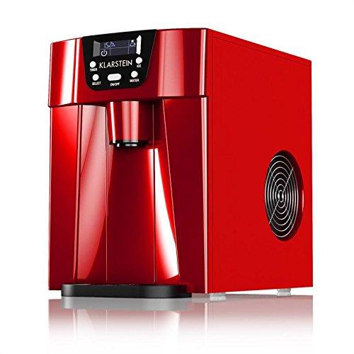 Klarstein - Ice Volcano 2G, Máquina de cubitos de hielo, Fabrica de 6 a 12 min, 2 tamaños, Producción 12 kg/día, Depósito 2 L, Indicadores LED, Rojo