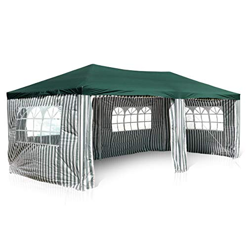 Nexos GM36076 PE-Pavillon Partyzelt mit 4 Seitenteilen und 2 Eingängen für Garten Terrasse Feier oder Fest als Unterstand Plane 110g/m² wasserdicht 3 x 6 m grün