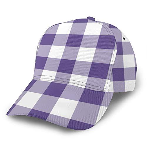 Jack16 Gorra de béisbol ajustable para hombre y mujer, sombrero deportivo para papá, ultra violeta, morado, a cuadros, ajuste para cola de caballo juvenil, damas, tenis, pelota de golf, gorra
