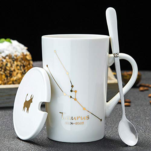 YLXINGMU Mug en Céramique,Creative Personality Ceramic Cup Mug with Lid Spoon Coffee Cup Fashion Taurus (Blanc) Couple'S Cups Household Men and Women Cup Personnalisation Capacité 420Ml