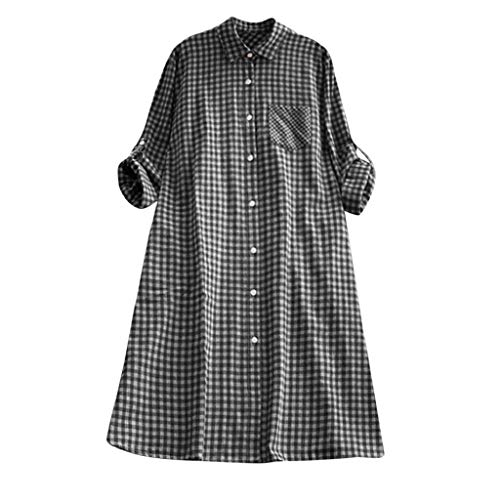 SHOBDW Vestidos Mujer Túnica A Cuadros De Verano De Regalo Botón Sólido Vestido De Manga Larga Camisa De Bolsillo con Cuello Vuelto Talla Grande Vestido Casual para Las Mujeres