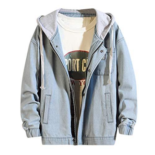 MAYOGO Hoodie Jeans Jacke für Männer/Teenager Denim Jacke Herren College Jacke Schwarz/Blau Jeansjacke Outdoor Freizeitjacke mit Kapuze (Hellblau, XXXL)