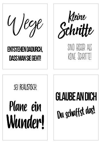 Edition Seidel Set 4 Premium Poster mit Sprüchen (Format DIN A4) ohne Rahmen Kunstdruck mit Zitaten (schwarz weiß). Bild Bilder Wandbild Wohnzimmer Schlafzimmer Küche (Motivation Set 1)
