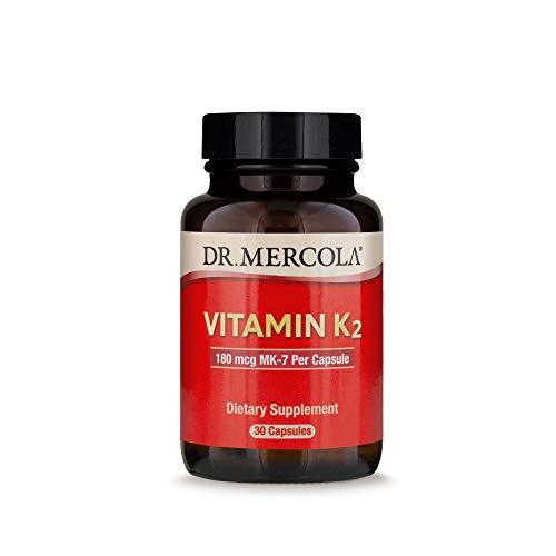Dr. Mercola Vitamin K-2 180mcg Dietary Supplement, 30 Servings (30 Capsules)