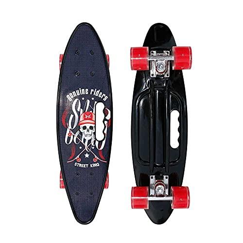 AXB Skateboard Monopatin, Mini Cruiser Retro Crucero 4 PU Ruedas Traslúcidas ABEC-7 Rodamientos,para Niños Jóvenes Adultos Principiantes