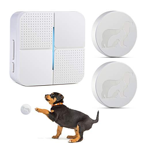 Pidsen Smart Dog Communication Door Bell, Dog Wireless Doorbell Waterproof Touch Doorbell with 2 Transmitters for Dog Puppy Training Sliding Door/Go Outside