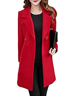 Jenkoon Women's Winter Outdoor Double Breasted Cotton Blend Pea Coat Jacket (Red, Small) by